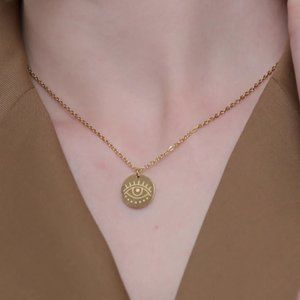 NEW 18K Gold Plated Round Eye Pendant Necklace